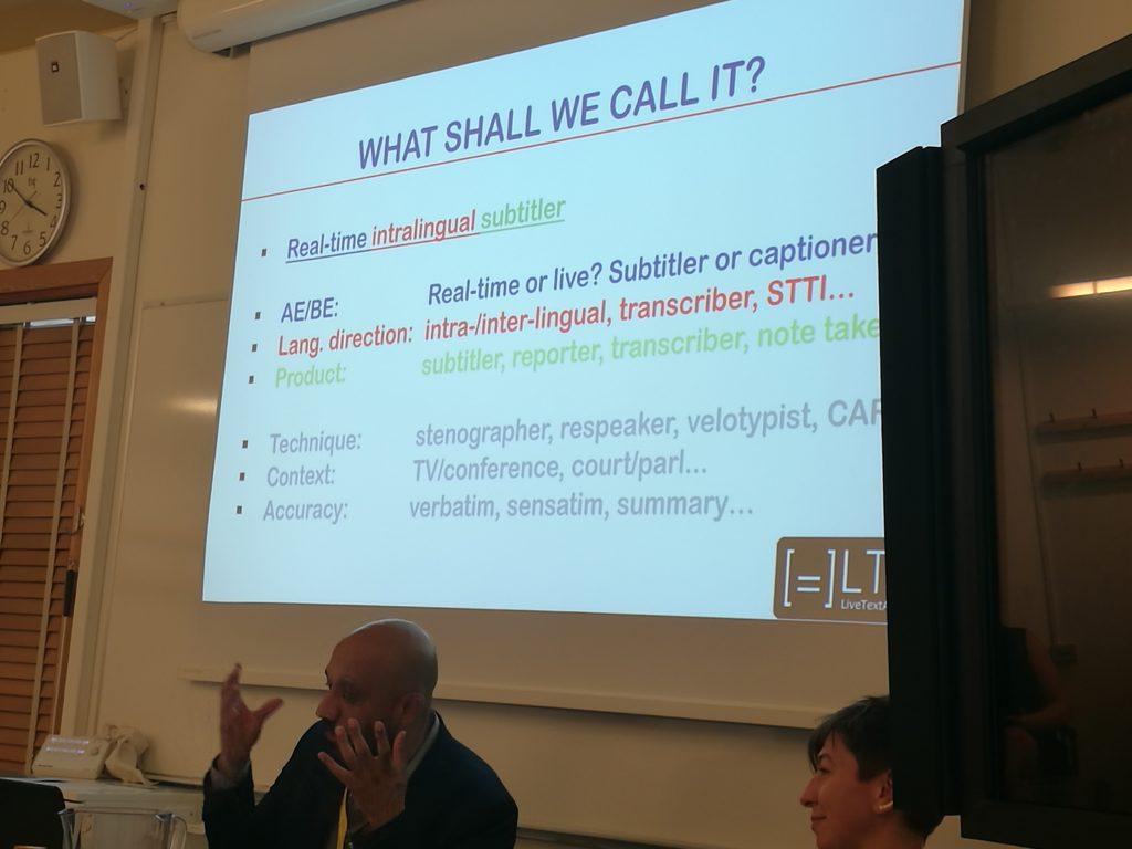 View of Power Point slide suggesting different names for the real-time intralingual subtitler